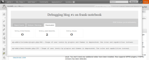 The debug bar on backend of WordPress