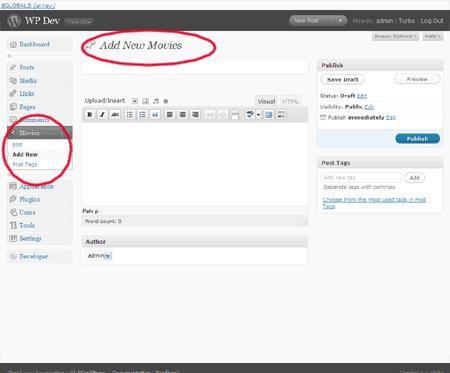 default custom post type