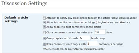 Wordpress 2.7 Discussion Settings