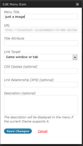 Wordpress 3.0 edit menu item screenshot