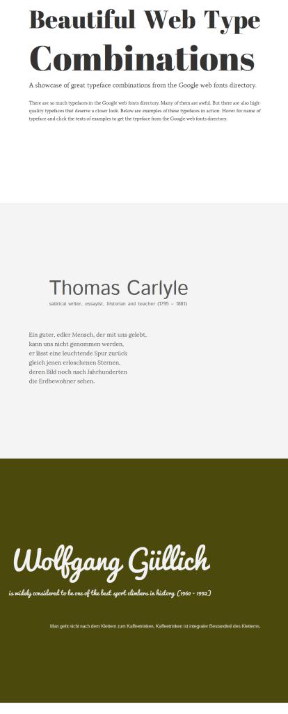 Screenshot Beautiful Web Type Combinations