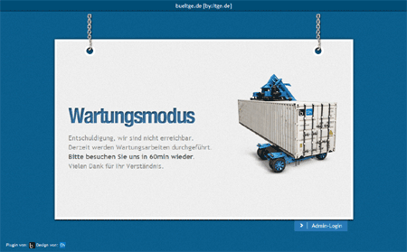"""Aktiv Maintenance-Mode with Theme """"The Truck"""" and german language"""