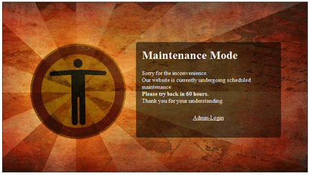 "Active Maintenance-Mode with Theme ""The Sun"""