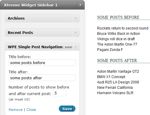 WordPress Single Post Navigation Widget