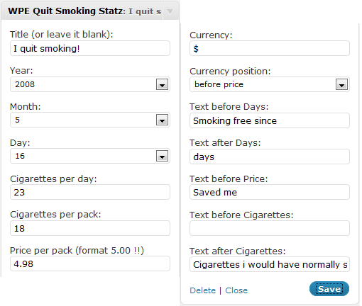 WP Engineer Quit Smoking Widget