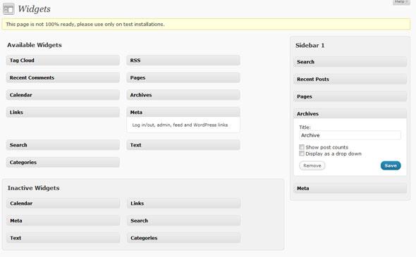 WordPress 2.8 Backend Widget Options