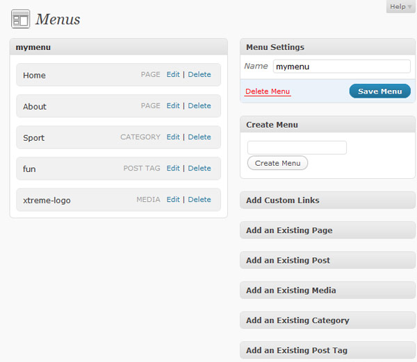 WordPress 3.0 Menu Option Page