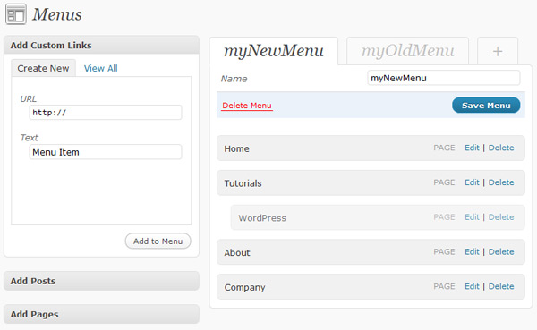 WordPress 3.0 Nav Menu UI