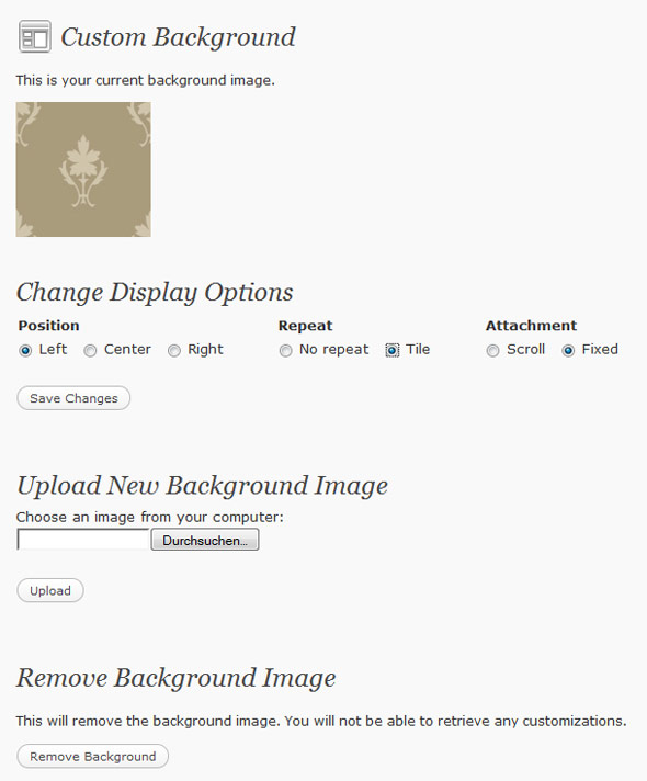 WordPress background settings
