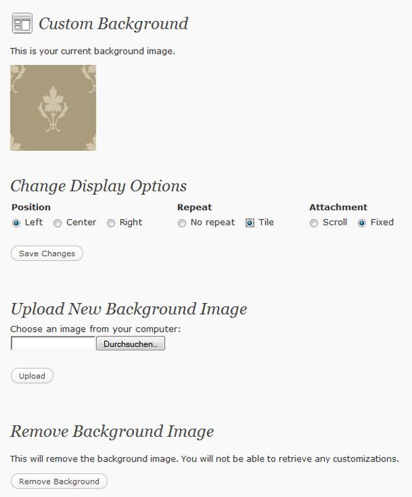 WordPress background settings