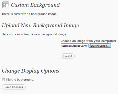 WordPress 3.0 Custom Background Step 1