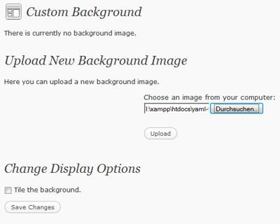 WordPress 3.0 Custom Background Step 1