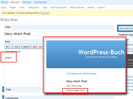 Screenshot of an example to the shortcode in WordPress
