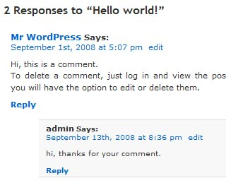 Screenshot threded comments in WordPress 2.7